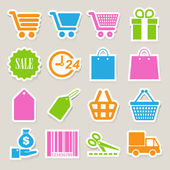 Shopping sticker icons set. — Stock Vector