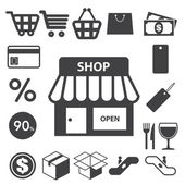 Shopping icons set. Illustration — Stock Vector