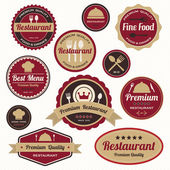 Set of vintage restaurant badges and labels — Stock Vector