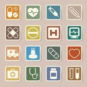 Iconos de etiqueta médica establece. ilustración — Vector de stock