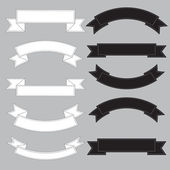 Old ribbon banner ,black and white. — Vector de stock