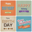 Stock Vector: Vintage Happy Birthday Card.Illustration