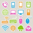 Stock Vector: Icon set of mobile devices , computer and network connections.
