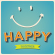 Happy and smile face retro poster - Stock Vector
