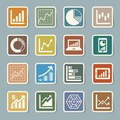 Business Graph sticker icon set — Stock Vector