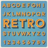 Retro type font, vintage typography . — Stock Vector