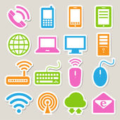 Icon set of mobile devices , computer and network connections. — Stock Vector