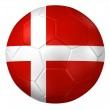 3d rendering of a soccer ball. ( Denmark Flag Pattern ) — Stock Photo #26648275