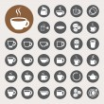 conjunto de iconos de la taza de taza de café y té — Vector de stock