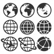 Earth vector icons set. — Stockvektor