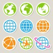 Earth vector icons set. — Stock Vector #28191201