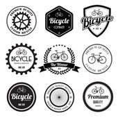 Set of bicycle retro vintage badges and labels. — Stock Vector