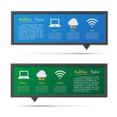 Icona di rete e 3d bubble talk lavagna. — Vettoriale Stock