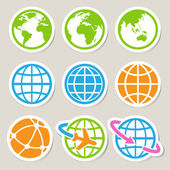 Earth vector icons set. — Stock Vector