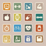 icone di fitness e salute — Foto Stock