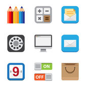 Business and interface flat icons set — Stock Photo