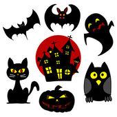 Halloween karikatura znaky. — Stock vektor