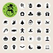 Christmas & Halloween icon set — Stock Vector