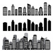 Stock Vector: Building black and white icon set.