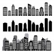 Building black and white icon set. — Stock Vector