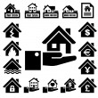 House insurance icons Set. — Stock Vector
