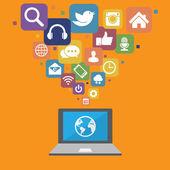 Ordinateur portable avec des icônes de médias sociaux — Vecteur