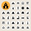 Stock Vector: Buildings icon set