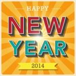 Happy new year retro poster — Stock Vector