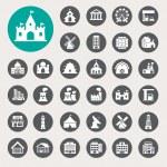 Buildings icon set — Stock Vector