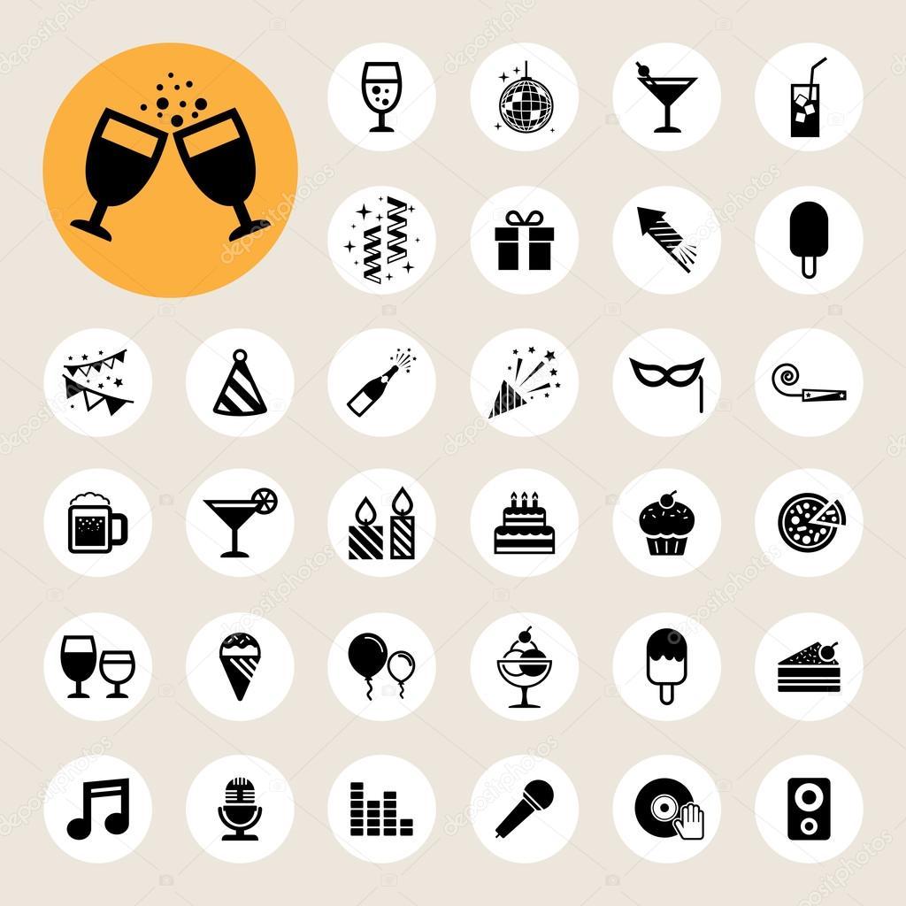 聚会和庆祝图标集 — 矢量图片作者