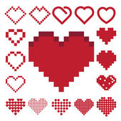 Red heart icon set . Illustration eps10 — Stock Vector