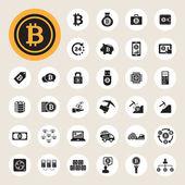 Bitcoin icons set — Stock Vector