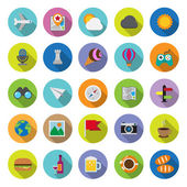 Flat icons collection with long shadow — Stock Vector