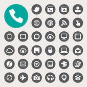 Communication and transportaion icon set — Vector de stock
