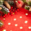 Christmas decorations on red — Foto de Stock