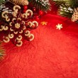 Christmas decorations on red — Stock Photo #12461491
