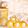 Stock Photo: Golden Christmas tree decorations