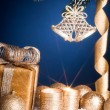 Stock Photo: Christmas decorations on blue