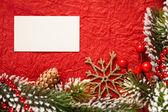 Weihnachten-Frame auf rot — Stockfoto