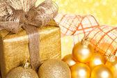 Christmas gift and balls — Stock Photo
