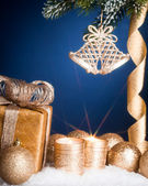 Christmas decorations on blue — Stock Photo