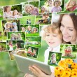 Happy family using tablet PC — Stockfoto
