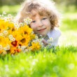 Child with bouquet — Stock Photo