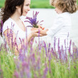 Child and woman in spring — Stock Photo