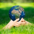 Stock Photo: Earth in childrens hands