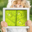 Child holding tablet PC — Foto Stock