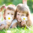 Happy children with flowers — Stock Photo #21384553