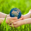 Earth in childrens hands — Stock Photo #21384555