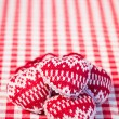 Hearts on gingham tablecloth — Foto de Stock