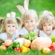 Stock Photo: Children having picnic